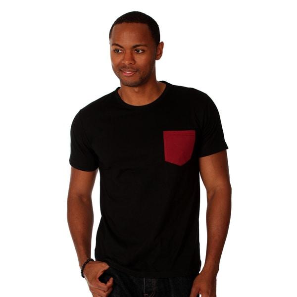 Oxymoron Men's Black Contrast-pocket Cotton T-shirt