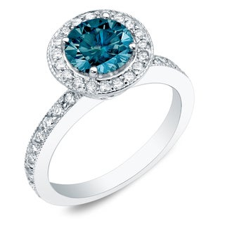 Auriya 14k Gold 1ct TDW Blue Round Cut Diamond Ring (SI1-SI2)