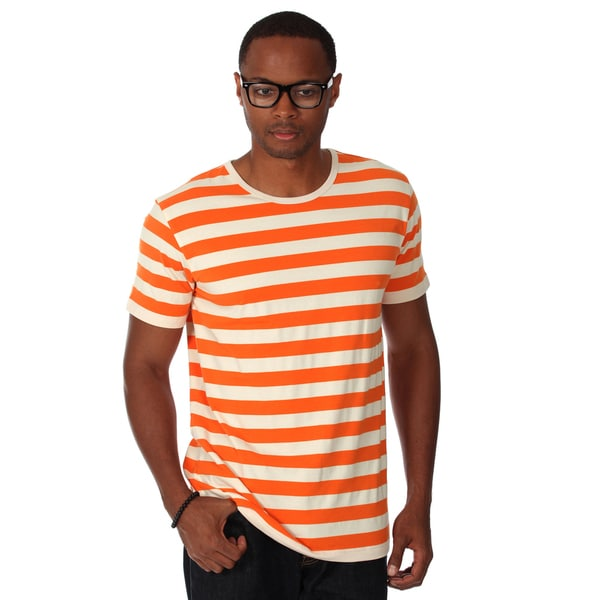 Zutoq Men's Orange Striped Crew Neck T-Shirt