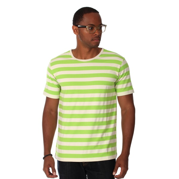 Zutoq Men's Green Striped Crew Neck T-Shirt