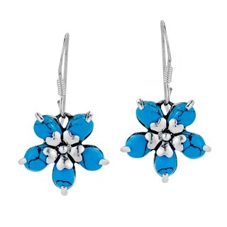 Floral Love Blue Turquoise .925 Sterling Silver Earrings (Thailand)