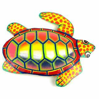 Hand Painted Metal Turtle Sunset Design (Haiti)