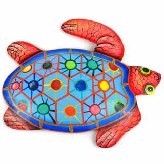 Hand Painted Metal Turtle Tropical Design (Haiti)