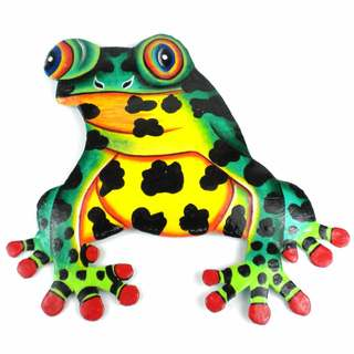 Hand Painted Metal Bullfrog Tropical Design (Haiti)