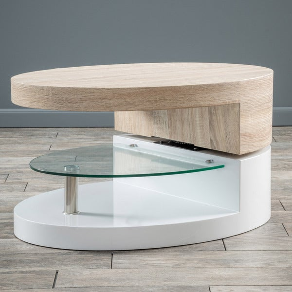 Christopher Knight Home Small Oval Mod Rotatable Coffee Table With Glass 16649041 Overstock