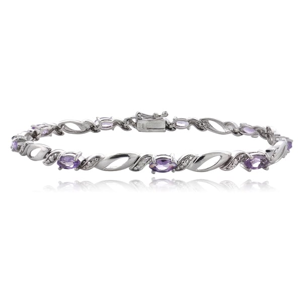 Glitzy Rocks Sterling Silver Gemstone and Diamond Accent Marquis Link Bracelet 14021377