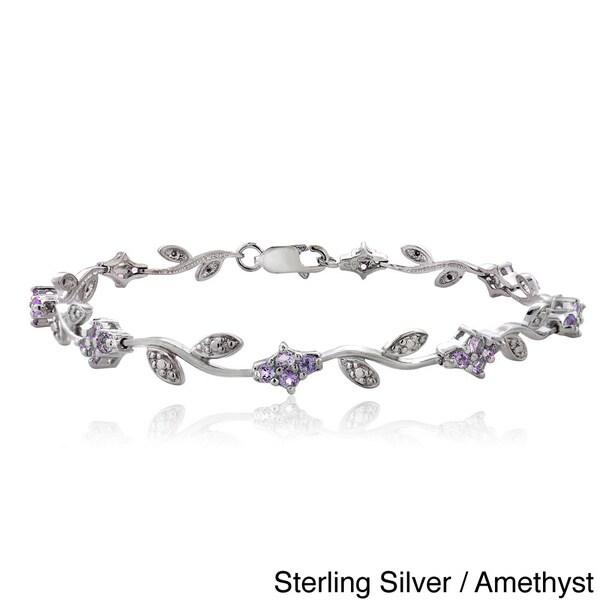 Glitzy Rocks Sterling Silver Gemstone and Diamond Accent Flower Link Bracelet 14021385