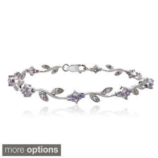 Glitzy Rocks Sterling Silver Gemstone and Diamond Accent Flower Link Bracelet