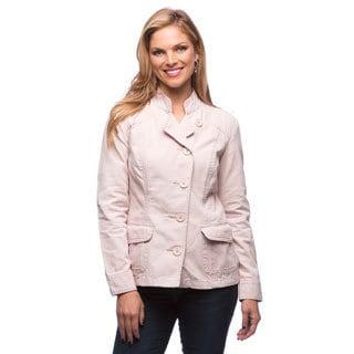 Live A Little Women's Pink Seam Stand Collar Jacket