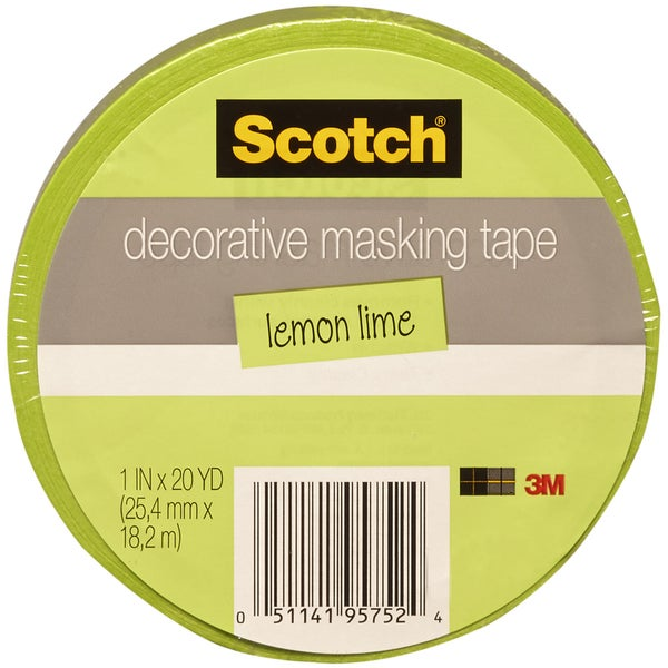 "Scotch Decorative Masking Tape 1""X20yd-Lime Green"