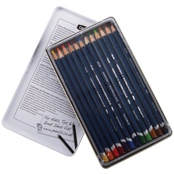 Derwent Watercolor Pencil Tin 12/Pkg