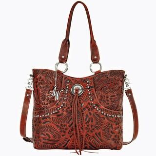 American West Distressed Orange Hand-tooled Leather Handbag