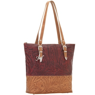 American West Hand-tooled Pomegranate / Tan Leather Breifcase Tote