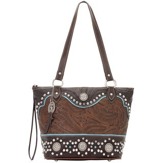 American West Hand-tooled Two-tone Brown and Turquoise Leather Handbag