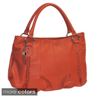 Buxton Leather Gathered Tote with Leather Chain Detailing
