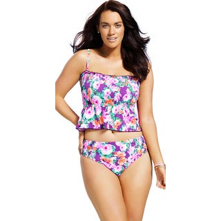 Swim Sexy Plus Size 'A Rose Is A Rose' Smocked Tankini