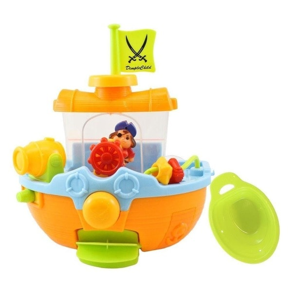 Dimple Child Bathtime Pirate Ship Bathtub Toy with Water Cannon