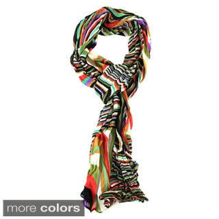 Le Nom Multicolored Wave Pattern Scarf