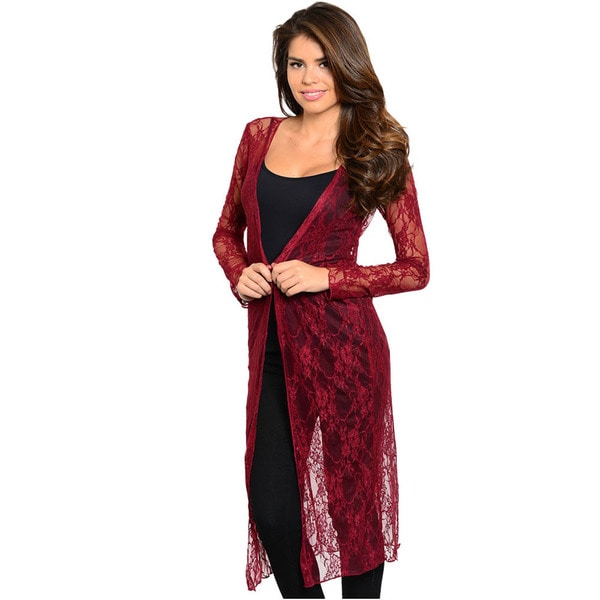 Shop The Trends Women's Long Lace Cardigan with Floral Embroidered ...