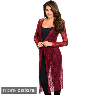 Feellib Women's Sheer Floral Lace Extra Long Cardigan