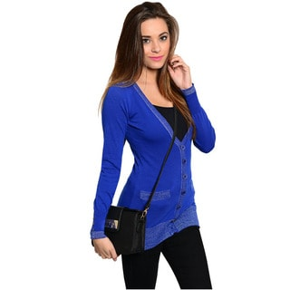 Feellib Women's Blue Button-down Cardigan Sweater
