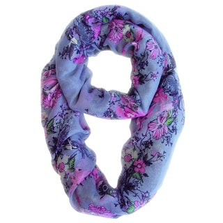 Purple Cherry Blossom Floral and Hummingbird Print Infinity Scarf