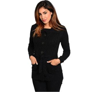 Feellib Women's Black Button-up Sweater with Sash Belt