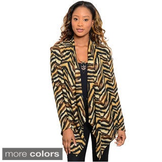 Feellib Women's Tiger Print Pointed-hem Open Cardigan