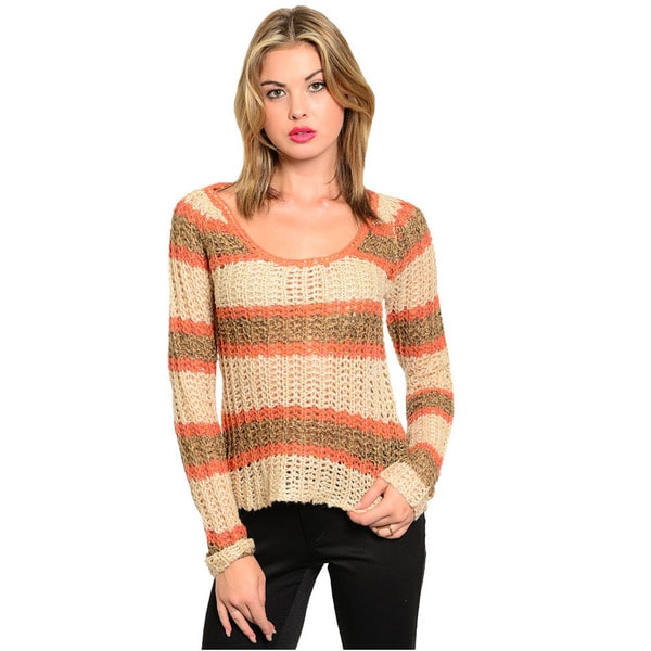Shop The Trends Women's Brown and Coral Striped Knit Crochet Sweater