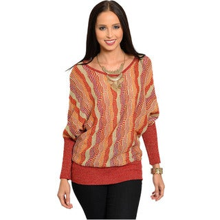 Feellib Women's Abstract Geometric Knit Sweater