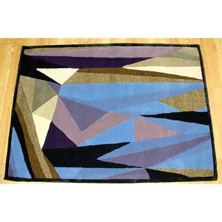 Hand-tufted Geometric Blue & Black Area Rug