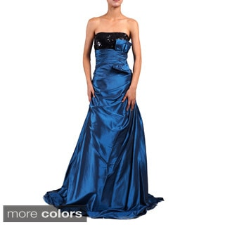 DFI Women's Sequin-bust Strapless Evening Gown