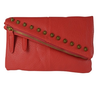 Studded Red Fold-over Flap Clutch