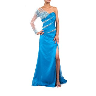 DFI Women's Dark Turquoise Beaded One-shoulder Evening Gown