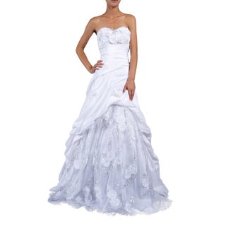 DFI Women's Floral-embellished Sweetheart Evening Gown
