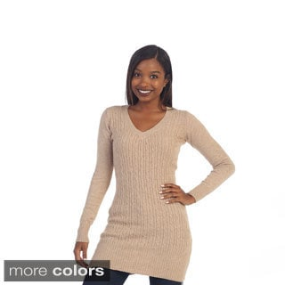 Hadari Women's Cable-ribbed Long Sleeve Sweater and Scarf Set