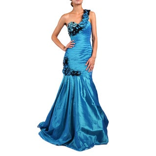 DFI Women's Rosette and Chunky Bead Evening Gown
