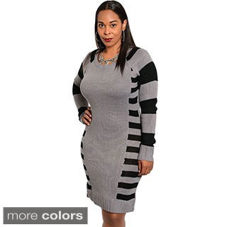 Stanzino Plus Size Women's Long Sleeve Striped Sweater Dress