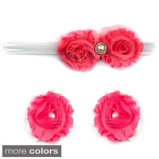 Aimee's Baby Floral Headband and Barefoot Sandal Gift Set