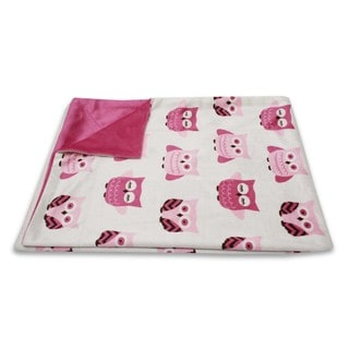 Thro Girls' Pink Owl Baby Throw Blanket