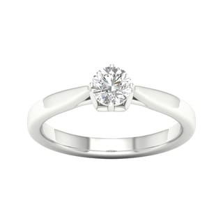 De Couer 14k White Gold 1/2ct TDW Round Cut Solitaire Diamond Engagement Ring (H-I, I2)