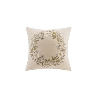 Madison Park Wreath Embroidered Feather Down Filled Throw Pillow