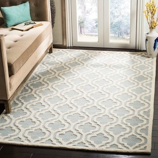 Safavieh Handmade Moroccan Cambridge Spa/ Ivory Wool Rug (9' x 12')