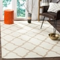 Safavieh Hand-woven Dhurries Ivory/ Camel Wool Rug (5' x 8')