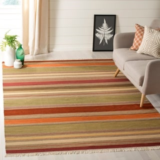 Safavieh Hand-Woven Striped Kilim Green Wool Rug (6' x 9')
