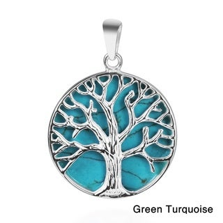 Mystical Tree of Life Stone Inlay .925 Silver Pendant (Thailand)