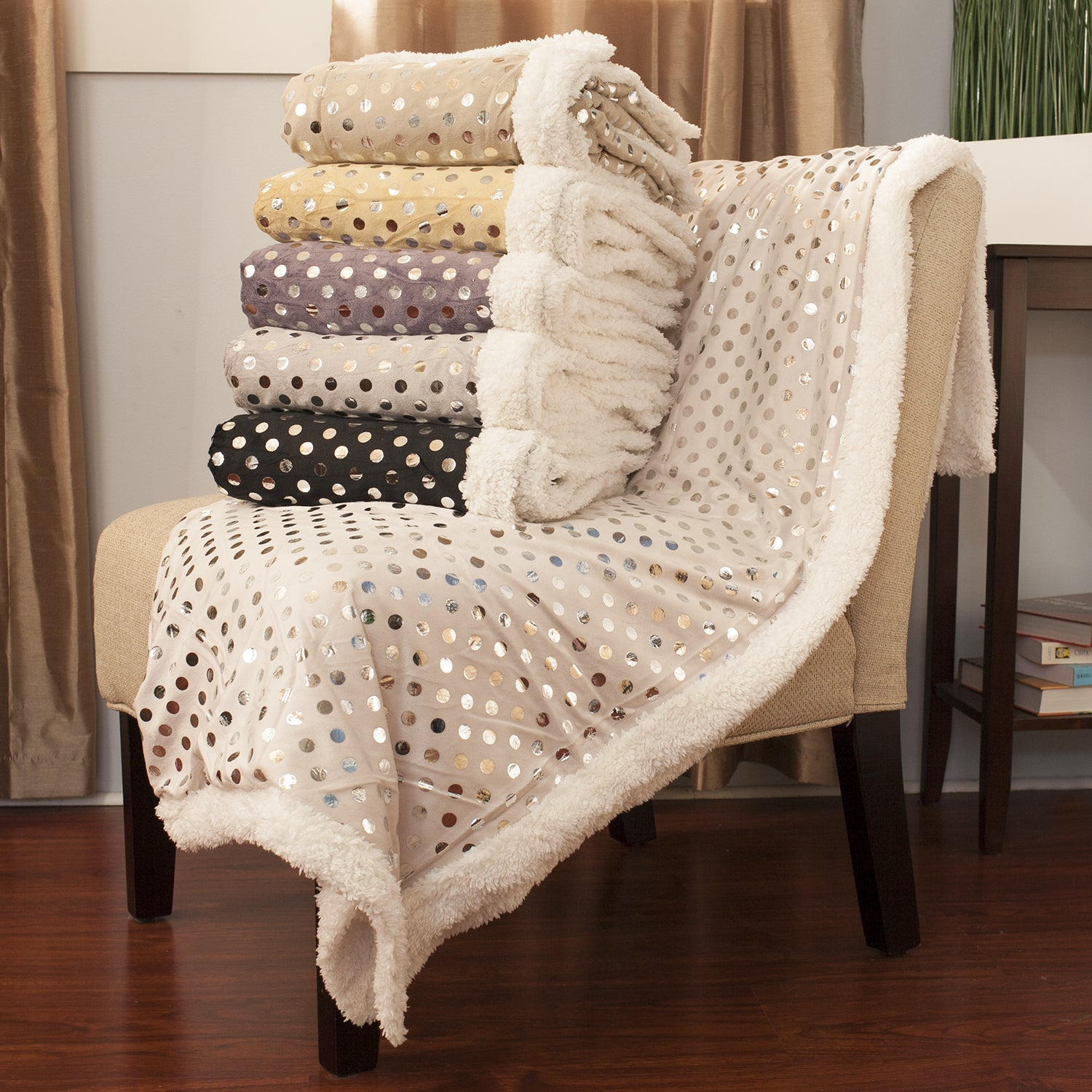 Overstock.com Luxurious Silver Polka Dot Throw Blanket at Sears.com