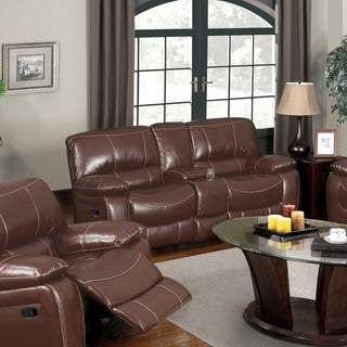 Furniture of America Jojo Classic Brown Bonded Leather Loveseat