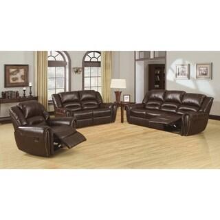 Furniture of America Harv 3-Piece Bonded Leather Sofa Set