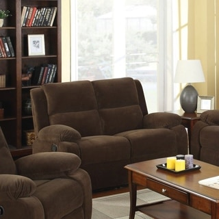 Furniture of America Borrison Dark Brown Flannelette Recliner Loveseat